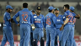 Indian cricketers celebrate