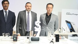 Samsung and Intertec officials at the unveiling of Galaxy S7 and S7 Edge in Qatar. PICTURE: Nasar T