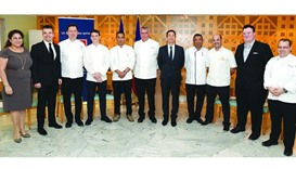 French ambassador Eric Chevallier (fifth, right) with hotel officials and chefs who will take part a