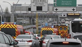 Emergency vehicles arrive Orly airport terminal in Paris