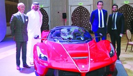 Ferrari MENA region general manager Giulio Zauner (left) and Charly Dagher (second, right) lead the