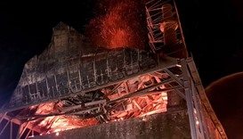 Flames rise in the building of the historic 15th century Ottoman mosque in Didymoteicho, northeaster