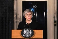British Prime Minister Theresa May speaks outside 10 Downing Street in central London