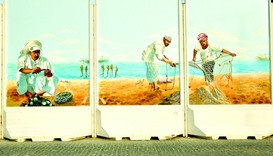 Seascape view depicting Qatari fishermen.