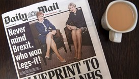 Today's Daily Mail newspaper, pictured in a coffee shop in central London