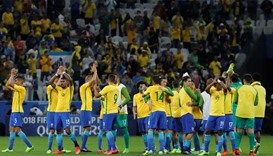 Brazil's players celebrate after their victory