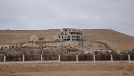 A general view shows a palace complex, which has been recaptured from Islamic State militants, on th