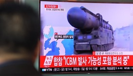 North Korean missile launch is broadcast on a public screen in Seoul