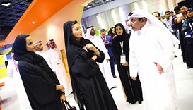 HH Sheikha Moza and HE Sheikha Hind interact with HE the Minister of Transport and Communication Jas