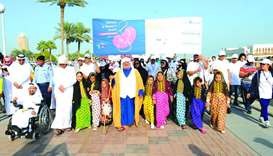 Several people took part in a walkathon yesterday on Doha Corniche, to mark World Kidney Day.