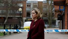 Britain's Home Secretary Amber Rudd, accompanied by Temporary Chief Constable Kier Pritchard,