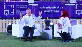Wolfgang Puck and Aisha al-Tamimi at the QIFF 2018 opening at the Hotel Park. PICTURE: Ram Chand
