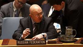 Russian Ambassador to the United Nations (UN) Vassily Nebenzia sits in the security council