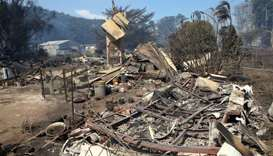 A house thats has been destroyed by a bushfire can be seen near the town of Cobden, located south we