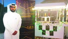 Faisal Abdulaziz Ali at his stall at QIFF's Coffee Zone.