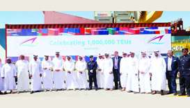 HE the Minister of Transport and Communications Jassim Seif Ahmed al-Sulaiti and other dignitaries d