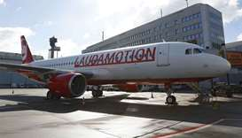 A Laudamotion Airbus A320 plane is seen at the airport in Duesseldorf