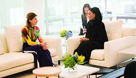 Sheikha Moza meets wife of Ukrainian president