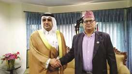 Qatari ambassador  meets Nepali House of Representatives speaker in Kathmandu