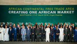 The African Heads of States and Governments pose during African Union (AU) Summit for the agreement