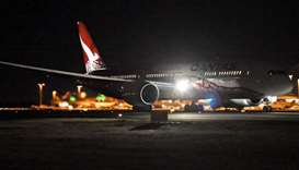 Qantas' 787 Dreamliner takes off on its inaugural flight from Perth to London on March 24