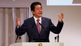 Shinzo Abe delivers a speech during the LDP annual party convention in Tokyo