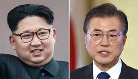 North Korean leader Kim Jong Un (L) and South Korea's President Moon Jae-In