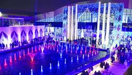 The outdoor musical water fountain serves as one of Tawar Mall's main attractions.