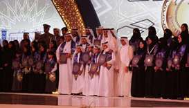 His Highness the Emir Sheikh Tamim bin Hamad Al-Thani attends the Education Excellence Day ceremony