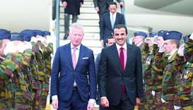 His Highness the Emir Sheikh Tamim bin Hamad al-Thani is being received upon arrival in Brussels. Th