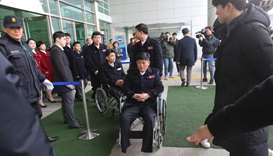 North Korean athletes arrive to participate in the 2018 Pyeongchang Paralympic Games at the Korean-t