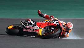 Repsol rider and current world champion Marc Marquez of Spain crashes