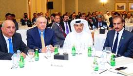 HE al-Kuwari (centre) joins Dawood, as well as Pakistan's Board of Investment chairman Haroon Sharif