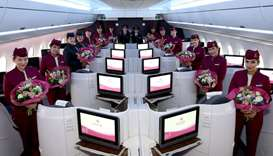 Qatar Airways  all-female flight from Brussels to Doha