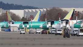 Boeing 737 airplanes, most of which are the MAX model, sit on the tarmac outside the on March 11, 20