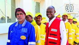 Winterisation kits were distributed at a mass housing complex for Al Wakrah Municipality workers, am