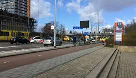 The site of a shooting is pictured in Utrecht, Netherlands.