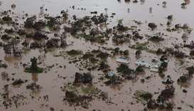 Houses and flooding in an area affected by Cyclone Idai in Beira.