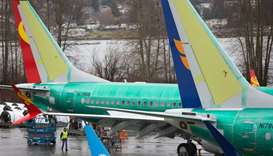 Boeing 737 MAX airplanes are pictured at the Boeing Renton Factory in Renton, Washington, on March 1