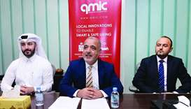 Dr Adnan Abu-Dayya (centre) announces findings of the report as other officials from Qmic look on.