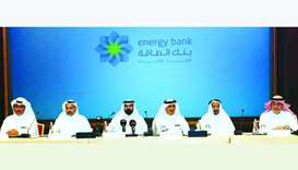 Founding members of Energy Bank, which will be based in the Qatar Financial Center, announcing the i