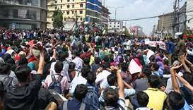 Bangladeshi students block a road during a protest in Dhaka