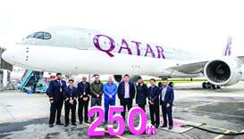 Qatar Airways on Wednesday celebrated the arrival of its 250th aircraft, an Airbus A350-900 from Tou