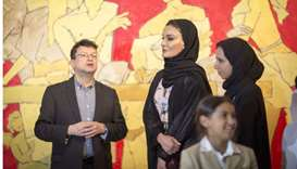 Sheikha Moza attends opening of Mathaf's new art exhibitions