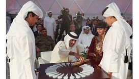 His Highness the Amir placed the magnetic piece in the logo of the power plant to officially inaugur