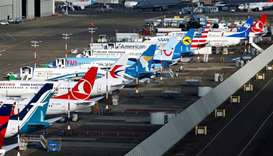 An aerial photo shows several Boeing 737 MAX airplanes grounded at Boeing Field in Seattle, Washingt