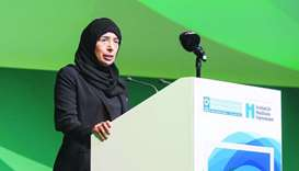 HE Dr Hanan Mohamed al-Kuwari speaking at the event.