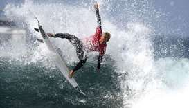 South African Dylan Lightfoot competes in the World Surf League championship at Les Almadies