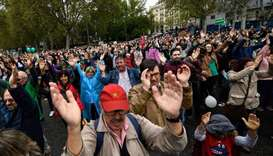 People attend a demonstration to protest against the lack of infrastructures in depopulated areas of