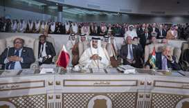 His Highness the Amir Sheikh Tamim bin Hamad Al-Thani attends the opening session of the Arab League